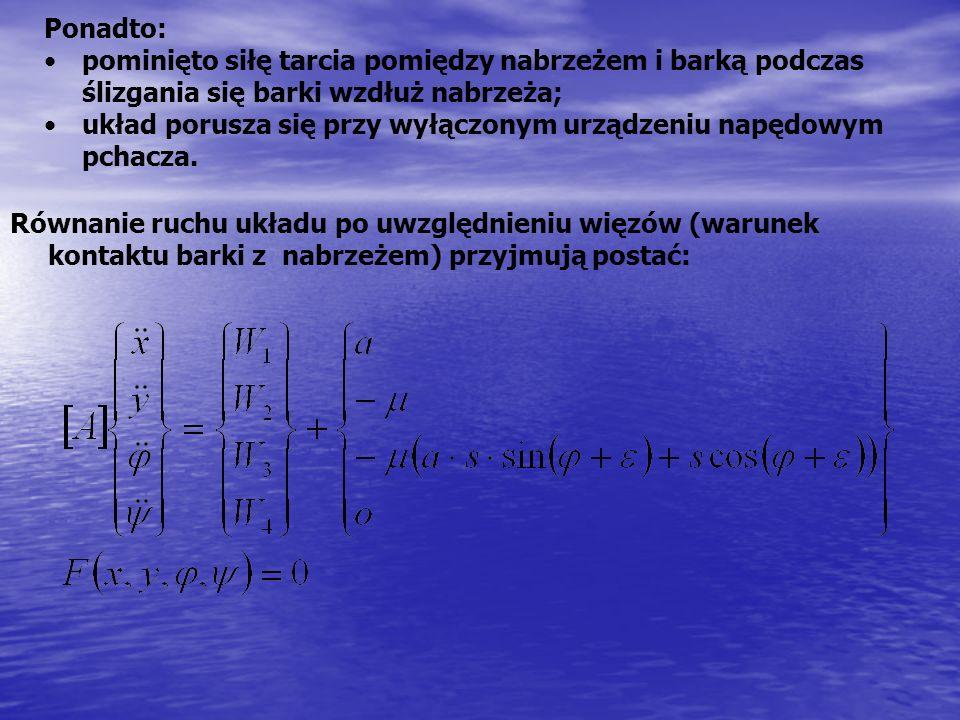 Równanie ruchu układu po uwzględnieniu więzów (warunek kontaktu barki z nabrzeżem) przyjmują postać: Ponadto: pominięto siłę tarcia pomiędzy nabrzeżem