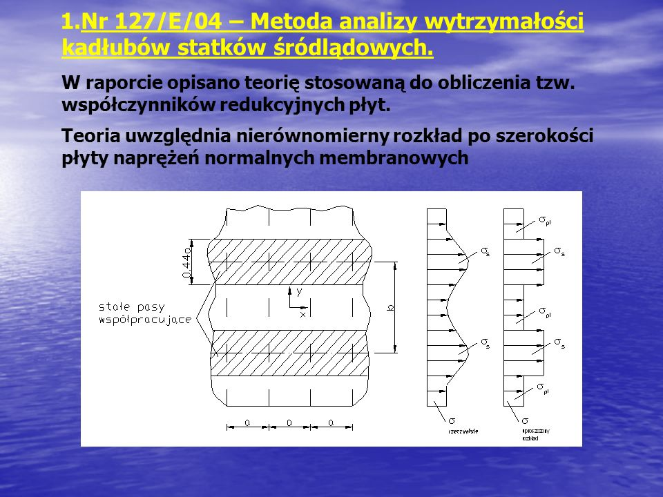 1.Nr 127/E/04 – Metoda analizy wytrzymałości kadłubów statków śródlądowych. W raporcie opisano teorię stosowaną do obliczenia tzw. współczynników redu