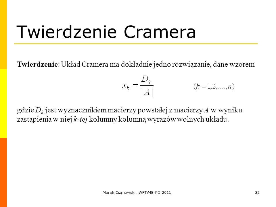 Marek Ciżmowski, WFTiMS PG 201132 Twierdzenie Cramera Twierdzenie: Układ Cramera ma dokładnie jedno rozwiązanie, dane wzorem gdzie D k jest wyznacznik