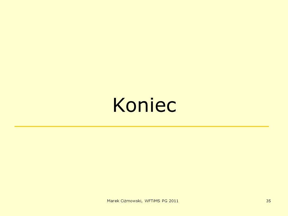 Marek Ciżmowski, WFTiMS PG 201135 Koniec