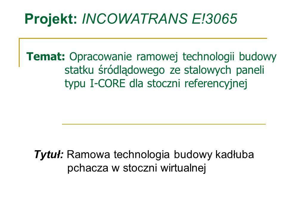 Temat: Opracowanie ramowej technologii budowy statku śródlądowego ze stalowych paneli typu I-CORE dla stoczni referencyjnej Tytuł: Ramowa technologia