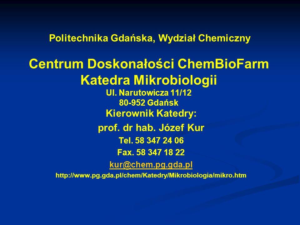 Centrum Doskonałości ChemBioFarm Katedra Mikrobiologii Ul. Narutowicza 11/12 80-952 Gdańsk Kierownik Katedry: prof. dr hab. Józef Kur Tel. 58 347 24 0