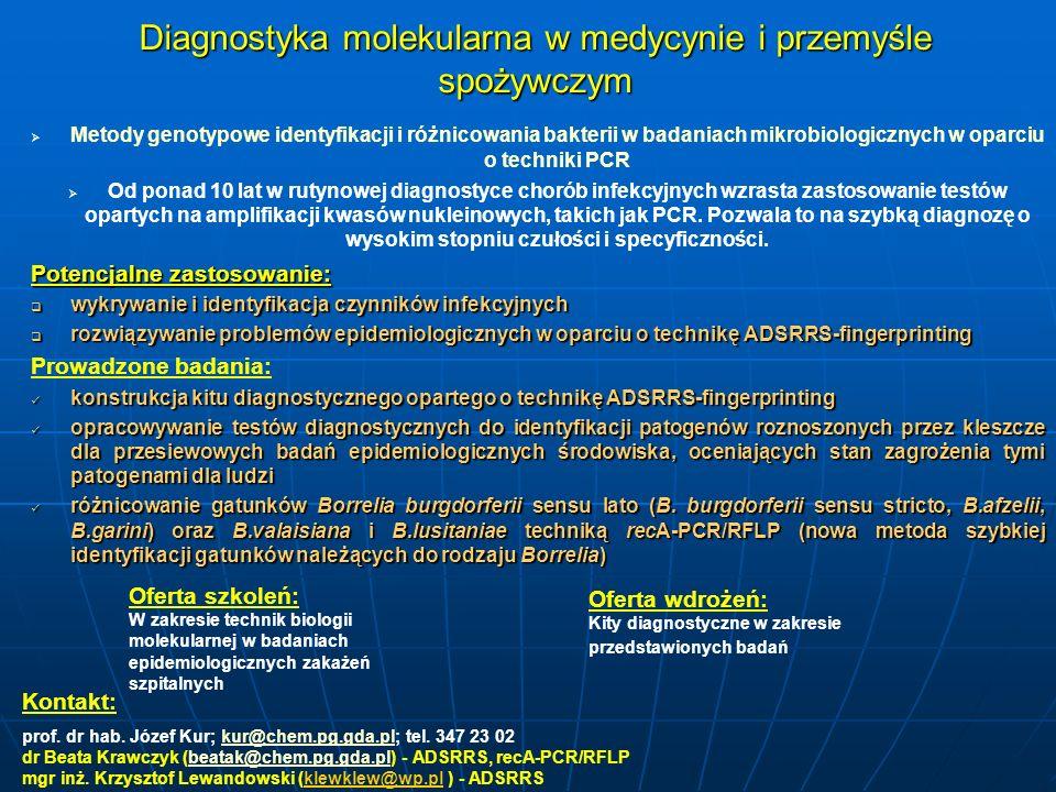 Diagnostyka molekularna w medycynie i przemyśle spożywczym Metody genotypowe identyfikacji i różnicowania bakterii w badaniach mikrobiologicznych w op