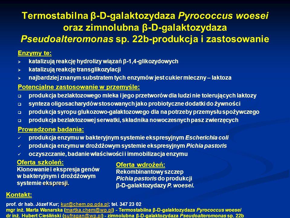 Termostabilna β-D-galaktozydaza Pyrococcus woesei oraz zimnolubna β-D-galaktozydaza Pseudoalteromonas sp. 22b-produkcja i zastosowanie Enzymy te: kata