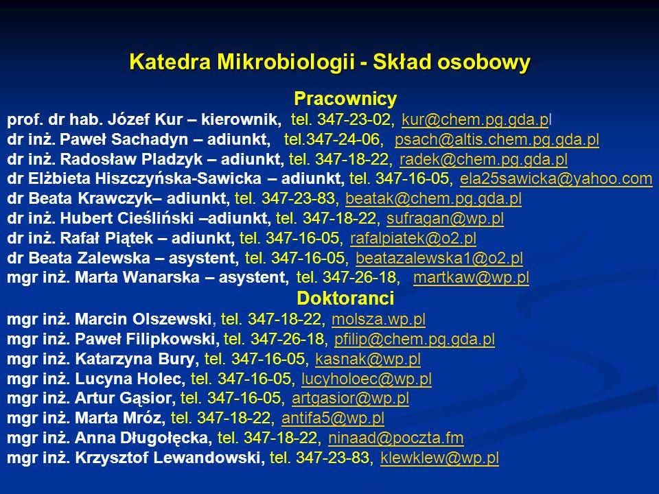 Katedra Mikrobiologii - Skład osobowy Pracownicy prof. dr hab. Józef Kur – kierownik, tel. 347-23-02, kur@chem.pg.gda.plkur@chem.pg.gda.p dr inż. Pawe