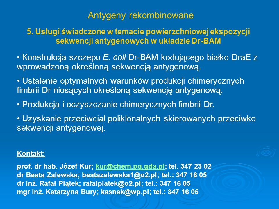 Immunodiagnostyka toksoplazmozy – antygeny rekombinowane Toxoplasma gondii: kosmopolityczny pierwotniak polikseniczny bezwzględny pasożyt wewnątrzkomórkowy wywołujący toksoplazmozęToksoplazmoza: choroba szeroko rozpowszechniona na całym świecie (liczba osób seropozytywnych w choroba szeroko rozpowszechniona na całym świecie (liczba osób seropozytywnych w Polsce wynosi około 60%) Polsce wynosi około 60%) wrodzona – istotny problem będący przyczyną aborcji lub wad wrodzonych u dzieci wrodzona – istotny problem będący przyczyną aborcji lub wad wrodzonych u dzieci systematyczne badania prenatalne (nie wykonywane obecnie w Polsce) odgrywałyby bardzo istotną rolę we wczesnej identyfikacji zarażeń pasożytem oraz leczeniu systematyczne badania prenatalne (nie wykonywane obecnie w Polsce) odgrywałyby bardzo istotną rolę we wczesnej identyfikacji zarażeń pasożytem oraz leczeniu Testy diagnostyczne: obecnie w stosowanych testach diagnostycznych wykorzystuje się głównie antygeny natywne, a rekombinantowe białka antygenowe mogą być alternatywnym źródłem antygenów obecnie w stosowanych testach diagnostycznych wykorzystuje się głównie antygeny natywne, a rekombinantowe białka antygenowe mogą być alternatywnym źródłem antygenów Prowadzone badania: produkcja rekombinantowych białek antygenowych T.