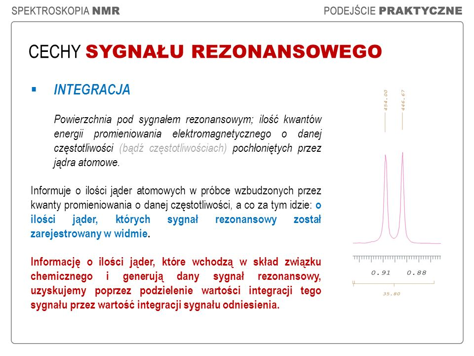 CECHY SYGNAŁU REZONANSOWEGO INTEGRACJA Powierzchnia pod sygnałem rezonansowym; ilość kwantów energii promieniowania elektromagnetycznego o danej częst