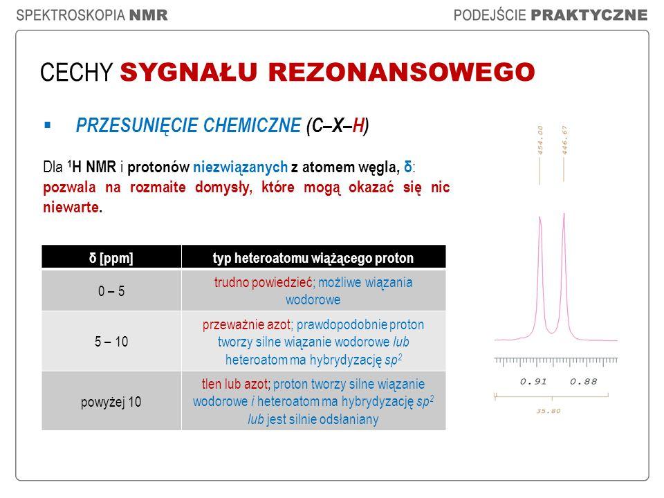 CECHY SYGNAŁU REZONANSOWEGO PRZESUNIĘCIE CHEMICZNE (C–X–H) Dla 1 H NMR i protonów niezwiązanych z atomem węgla, δ : pozwala na rozmaite domysły, które