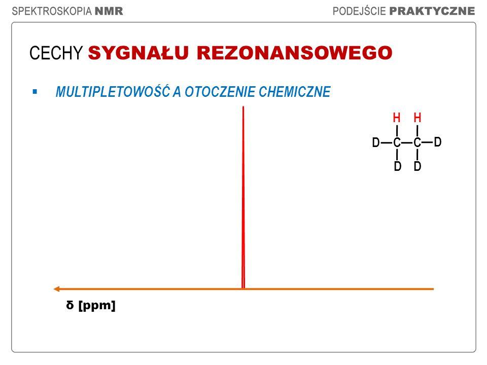 CECHY SYGNAŁU REZONANSOWEGO H CC H δ [ppm] D D D D MULTIPLETOWOŚĆ A OTOCZENIE CHEMICZNE
