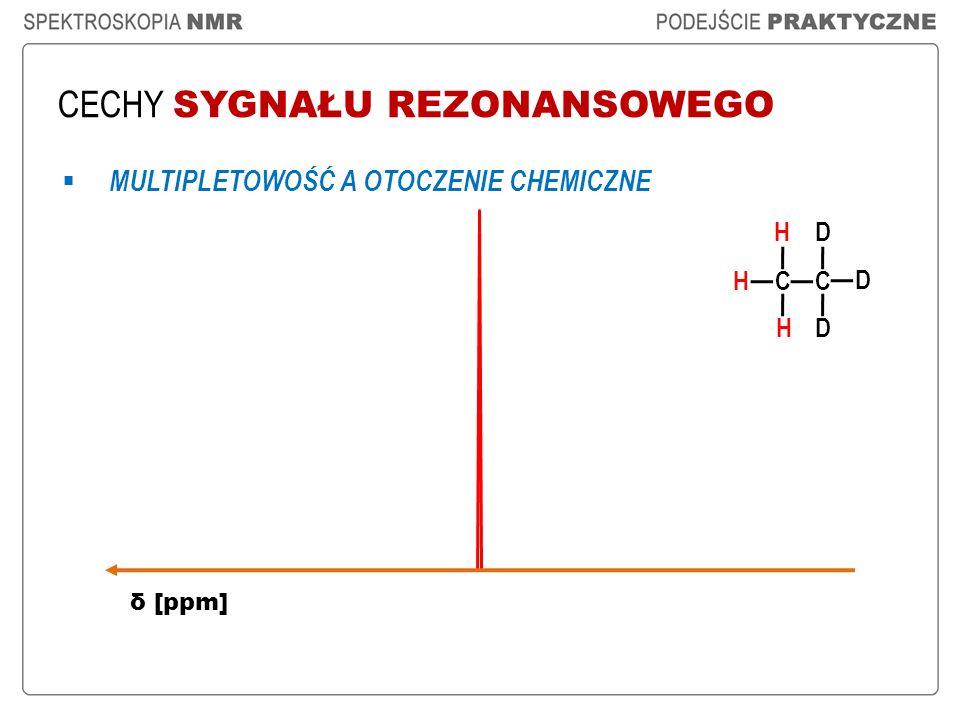 CECHY SYGNAŁU REZONANSOWEGO H CC D δ [ppm] D D H H MULTIPLETOWOŚĆ A OTOCZENIE CHEMICZNE