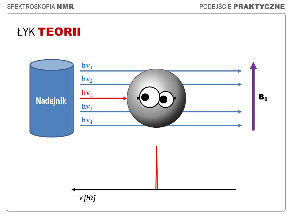 ŁYK TEORII Częstotliwość rezonansowa jądra, zwana też częstotliwością Lamora ( ν L ), dana jest wzorem: Dla protonów, jeżeli B 0 = 2,35 T, v L = 100 MHz ; te proporcje są zachowane.