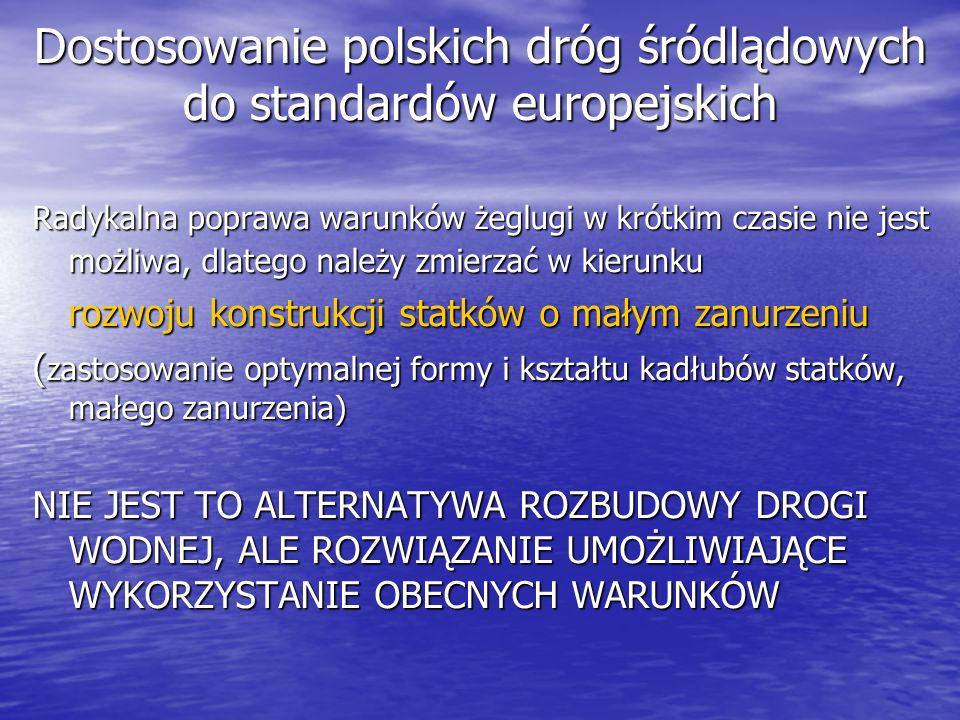 Dostosowanie polskich dróg śródlądowych do standardów europejskich Radykalna poprawa warunków żeglugi w krótkim czasie nie jest możliwa, dlatego należ