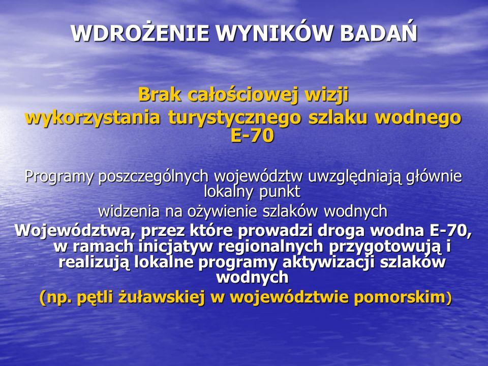 WDROŻENIE WYNIKÓW BADAŃ Brak całościowej wizji wykorzystania turystycznego szlaku wodnego E-70 Programy poszczególnych województw uwzględniają głównie