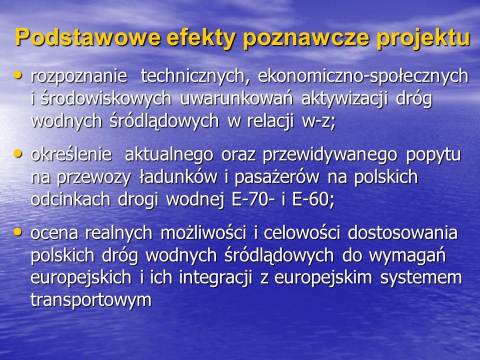Podstawowe efekty poznawcze projektu rozpoznanie technicznych, ekonomiczno-społecznych i środowiskowych uwarunkowań aktywizacji dróg wodnych śródlądow