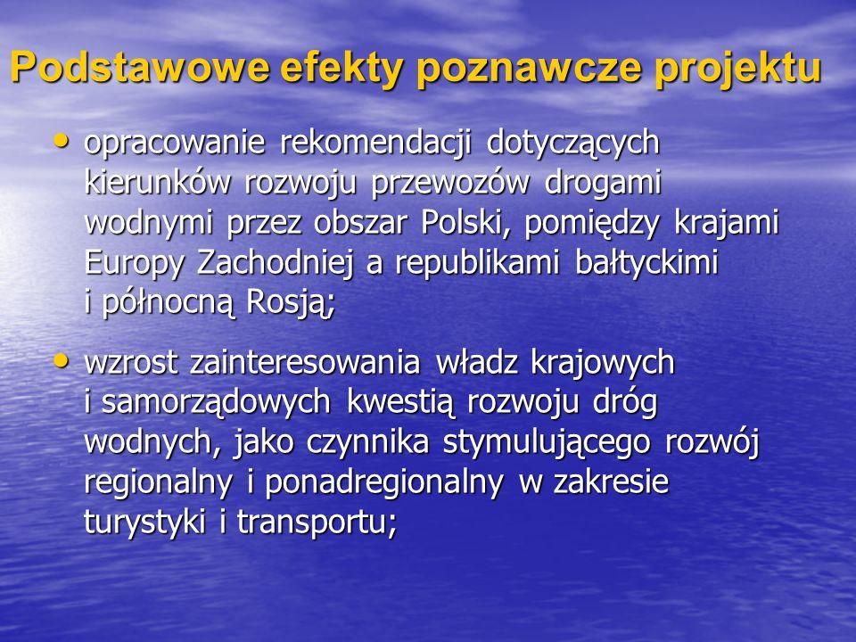 Podstawowe efekty poznawcze projektu opracowanie rekomendacji dotyczących kierunków rozwoju przewozów drogami wodnymi przez obszar Polski, pomiędzy kr