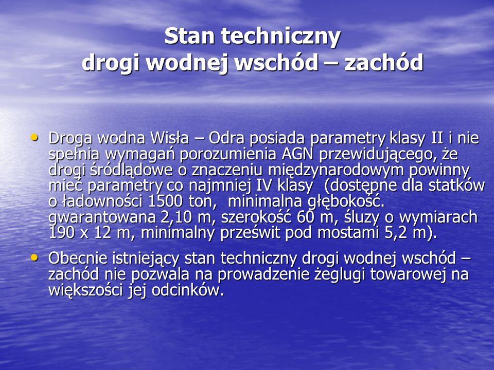 Stan techniczny drogi wodnej wschód – zachód Droga wodna Wisła – Odra posiada parametry klasy II i nie spełnia wymagań porozumienia AGN przewidującego