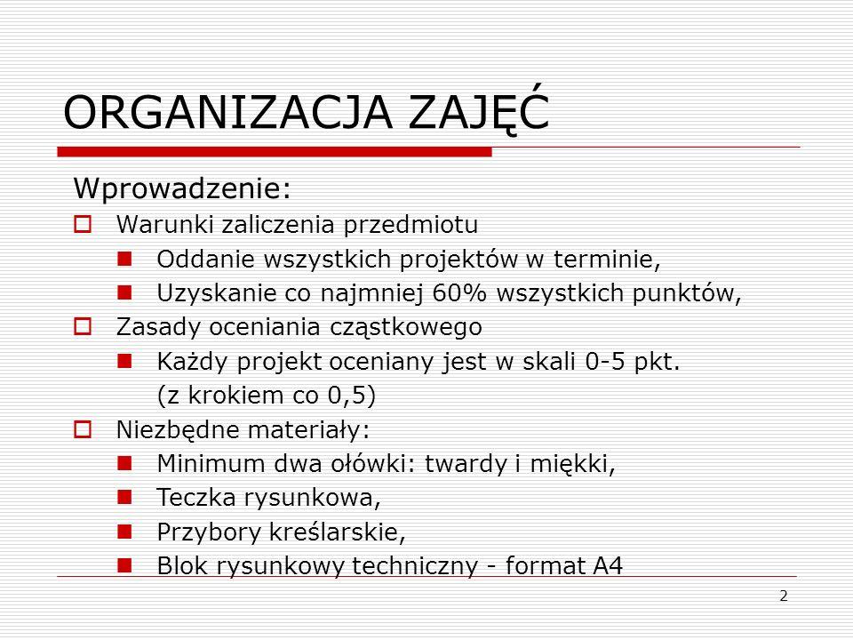 2 ORGANIZACJA ZAJĘĆ Wprowadzenie: Warunki zaliczenia przedmiotu Oddanie wszystkich projektów w terminie, Uzyskanie co najmniej 60% wszystkich punktów,