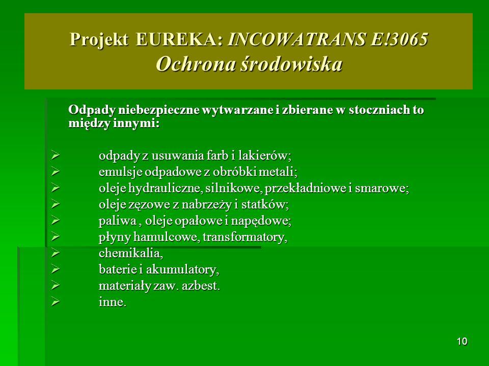 10 Projekt EUREKA: INCOWATRANS E!3065 Ochrona środowiska Odpady niebezpieczne wytwarzane i zbierane w stoczniach to między innymi: odpady z usuwania f