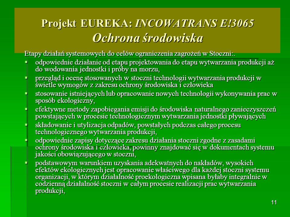 11 Projekt EUREKA: INCOWATRANS E!3065 Ochrona środowiska Etapy działań systemowych do celów ograniczenia zagrożeń w Stoczni:. odpowiednie działanie od