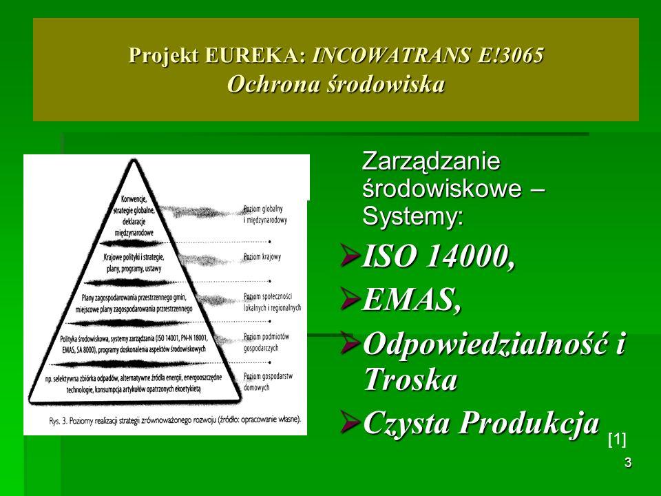 3 Projekt EUREKA: INCOWATRANS E!3065 Ochrona środowiska Zarządzanie środowiskowe – Systemy: ISO 14000, ISO 14000, EMAS, EMAS, Odpowiedzialność i Trosk