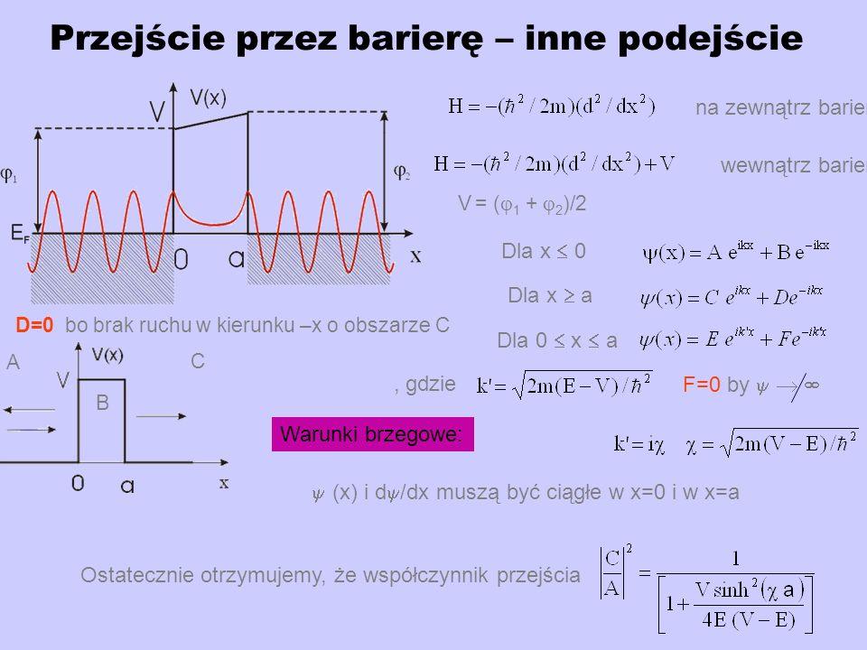 Przejście przez barierę – inne podejście na zewnątrz bariery wewnątrz bariery Dla x 0 Dla x a Dla 0 x a (x) i d /dx muszą być ciągłe w x=0 i w x=a Ostatecznie otrzymujemy, że współczynnik przejścia Warunki brzegowe: D=0 bo brak ruchu w kierunku –x o obszarze C, gdzie F=0 by V = ( 1 + 2 )/2 C A B