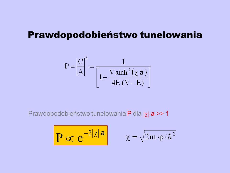 Równanie Nordheima Dokładną gęstość prądu tunelowania j można wyliczyć z zależności j=1.54x10 -6 E 2 / t 2 (y) exp[-6.83x10 7 3/2 f(y)/ E ] gdzie f(y) jest stabelaryzowaną funkcją bezwymiarowego parametru y y= e 3/2 E 1/2 / Powyższe równanie można zapisać w postaci I = a U 2 exp(-b 3/2 /cU) Gdzie a,b,c są stałymi, I prądem emisji, a U przyłożonym napięciem.,
