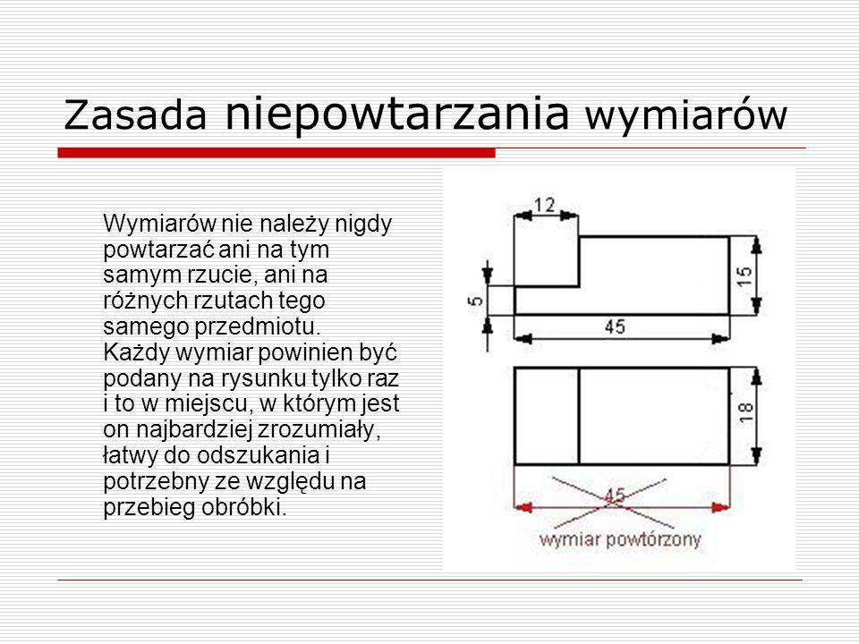 Zasada niezamykania łańcuchów wymiarowych Łańcuchy wymiarowe stanowią szereg kolejnych wymiarów równoległych (tzw.