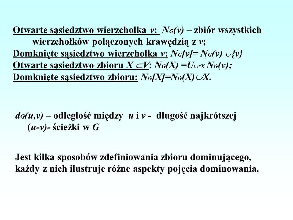 Zbiór D V(G) wierzchołków grafu G=(V,E) jest zbiorem dominującym wtedy i tylko wtedy, gdy: (i) dla każdego wierzchołka v V-D istnieje wierzchołek u D taki, że v jest sąsiedni do u; (ii) dla każdego wierzchołka v V-D, d G (v,D) 1; (iii) N G [D]=V; (iv) dla każdego wierzchołka v V-D, |N G (v) D| 1, czyli każdy wierzchołek v V-D jest sąsiedni do przynajmniej jednego wierzchołka z D; (v) dla każdego wierzchołka v V, |N G [v] D| 1.