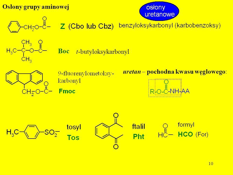10 Osłony grupy aminowej t-butyloksykarbonyl Boc uretan – pochodna kwasu węglowego: