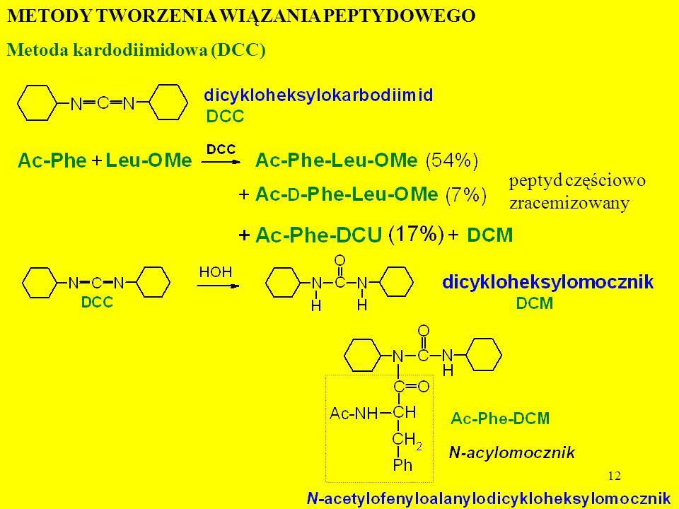 12 METODY TWORZENIA WIĄZANIA PEPTYDOWEGO Metoda kardodiimidowa (DCC) peptyd częściowo zracemizowany