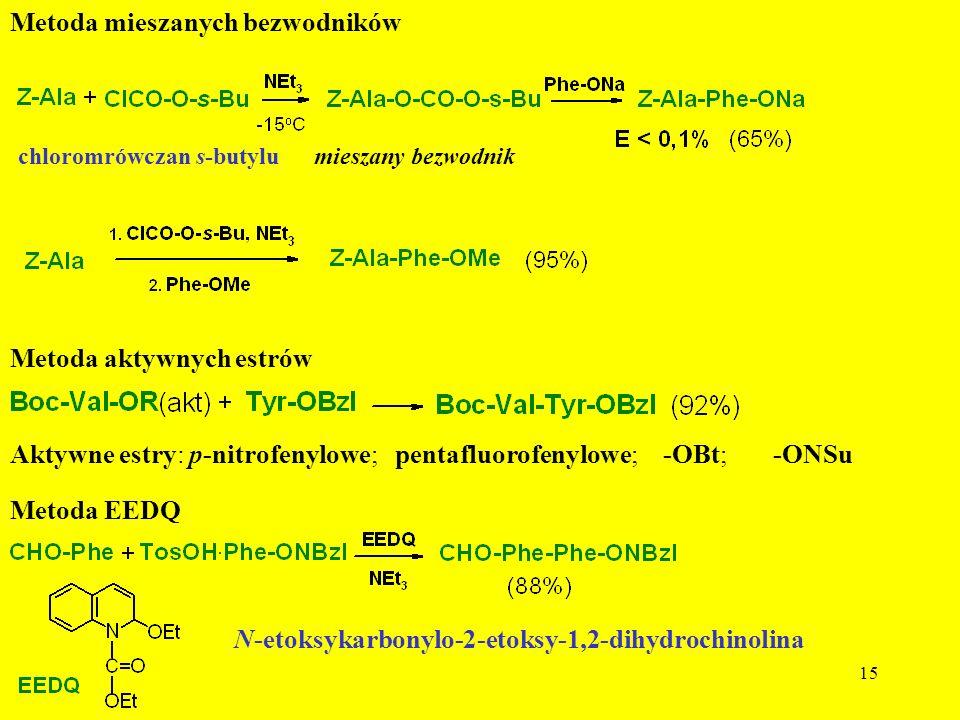 15 Metoda mieszanych bezwodników chloromrówczan s-butylu mieszany bezwodnik Metoda aktywnych estrów Aktywne estry: p-nitrofenylowe; pentafluorofenylow