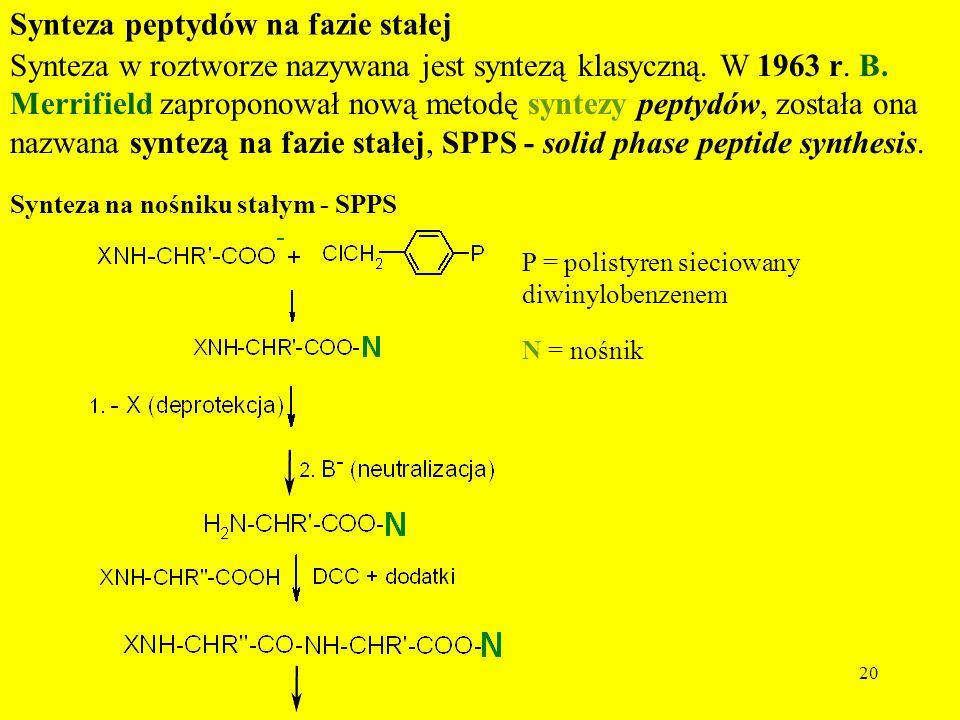 20 Synteza na nośniku stałym - SPPS P = polistyren sieciowany diwinylobenzenem N = nośnik Synteza w roztworze nazywana jest syntezą klasyczną. W 1963