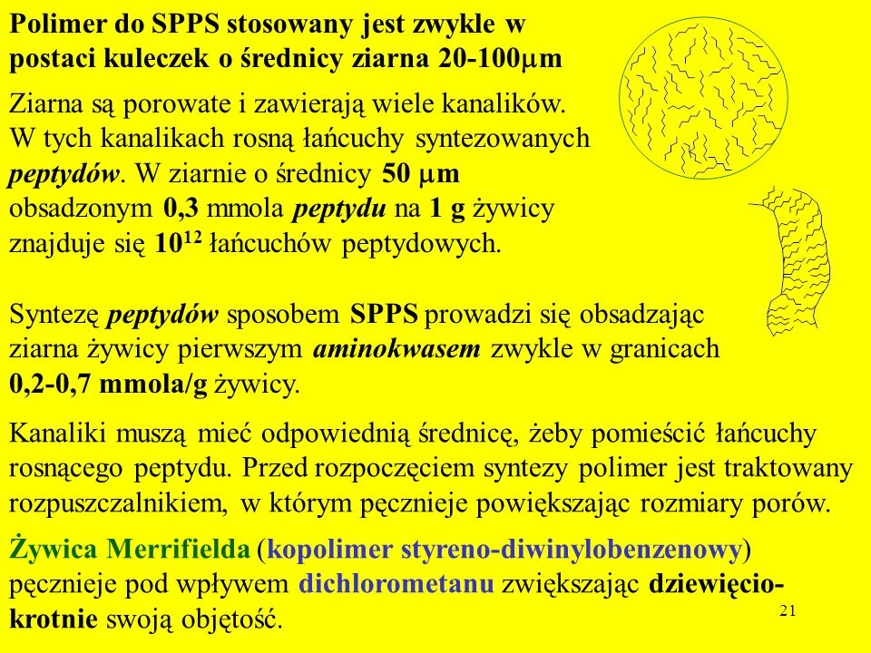 21 Polimer do SPPS stosowany jest zwykle w postaci kuleczek o średnicy ziarna 20-100 m Ziarna są porowate i zawierają wiele kanalików. W tych kanalika
