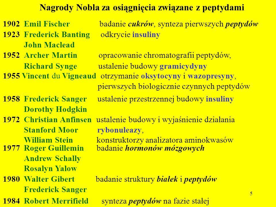 5 Nagrody Nobla za osiągnięcia związane z peptydami 1902 Emil Fischer badanie cukrów, synteza pierwszych peptydów 1923 Frederick Banting odkrycie insu