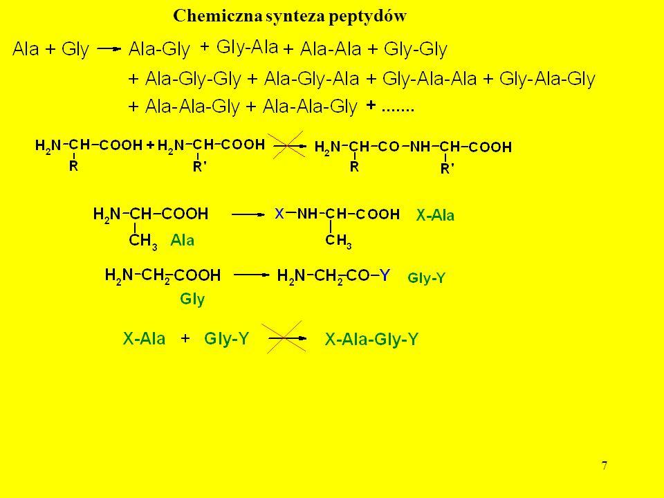 8 Dobra osłona peptydowa powinna: - być łatwa do wprowadzania; - być trwała w takcie syntezy peptydu i jego oczyszczaniu; - zapewniać dobrą rozpuszczalność chronionego AA; - ułatwiać reakcję tworzenia wiązania peptydowego; - utrudniać reakcje uboczne, w tym racemizację; - zapewniać możliwość selektywnego lub/i równoczesnego usuwania wszystkich osłon; - być w 100% łatwo usuwalna Syntetyczna rybonukleaza A, w której usunięto 83% osłon miała jedynie 70% aktywności biologicznej białka natywnego.