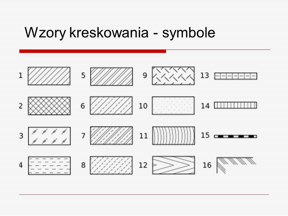 Wzory kreskowania - opisy 1.metal 2.tworzywa sztuczne, guma 3.szkło, materiały przezroczyste 4.ciecze, [wg normy PN-88/N-01607 także gazy] 5.materiały ceramiczne, ceramika 6.beton 7.beton zbrojony 8.kamień naturalny 9.materiały sypkie 10.gips, tynk, azbestocement 11.drewno w przekroju poprzecznym 12.drewno w przekroju wzdłużnym 13.pustaki szklane 14.drewniane płyty konstrukcyjne 15.izolacja przeciwwilgociowa 16.grunt naturalny