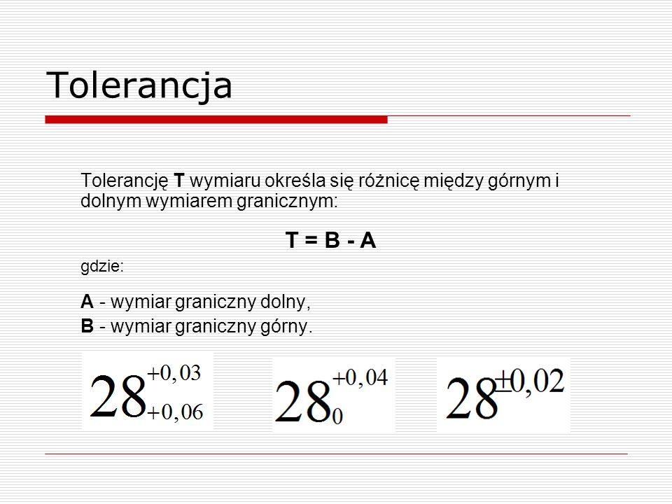 Tolerancja Tolerancję T wymiaru określa się różnicę między górnym i dolnym wymiarem granicznym: T = B - A gdzie: A - wymiar graniczny dolny, B - wymiar graniczny górny.