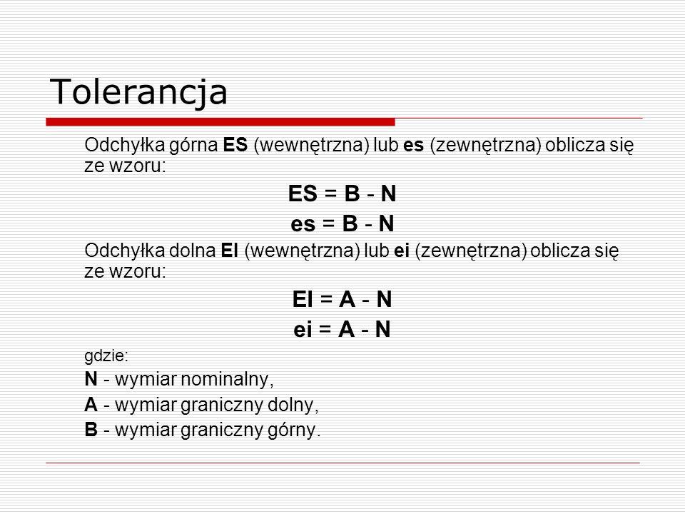 Tolerancja Odchyłka górna ES (wewnętrzna) lub es (zewnętrzna) oblicza się ze wzoru: ES = B - N es = B - N Odchyłka dolna EI (wewnętrzna) lub ei (zewnętrzna) oblicza się ze wzoru: EI = A - N ei = A - N gdzie: N - wymiar nominalny, A - wymiar graniczny dolny, B - wymiar graniczny górny.