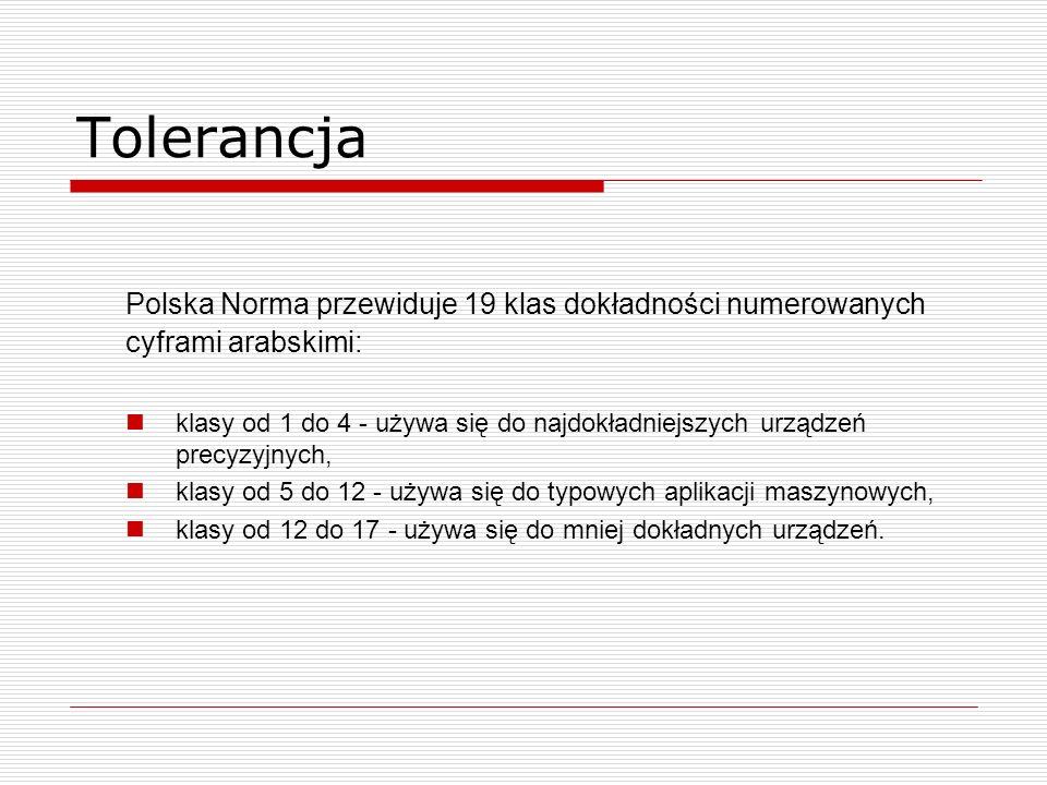 Tolerancja Polska Norma przewiduje 19 klas dokładności numerowanych cyframi arabskimi: klasy od 1 do 4 - używa się do najdokładniejszych urządzeń precyzyjnych, klasy od 5 do 12 - używa się do typowych aplikacji maszynowych, klasy od 12 do 17 - używa się do mniej dokładnych urządzeń.