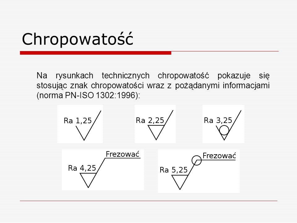 Chropowatość Składa się ze znaku i wpisanej nad nim wartości, Zawsze wpisuje się największą dopuszczalną chropowatość, Jednograniczne, Dwugraniczne, Ra – średnie arytmetyczne odchylenie profilu od linii średniej, Rz – wysokość chropowatości wg 10 punktów profilu.