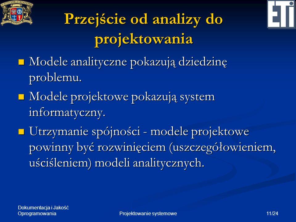 Dokumentacja i Jakość Oprogramowania 11/24Projektowanie systemowe Przejście od analizy do projektowania Modele analityczne pokazują dziedzinę problemu
