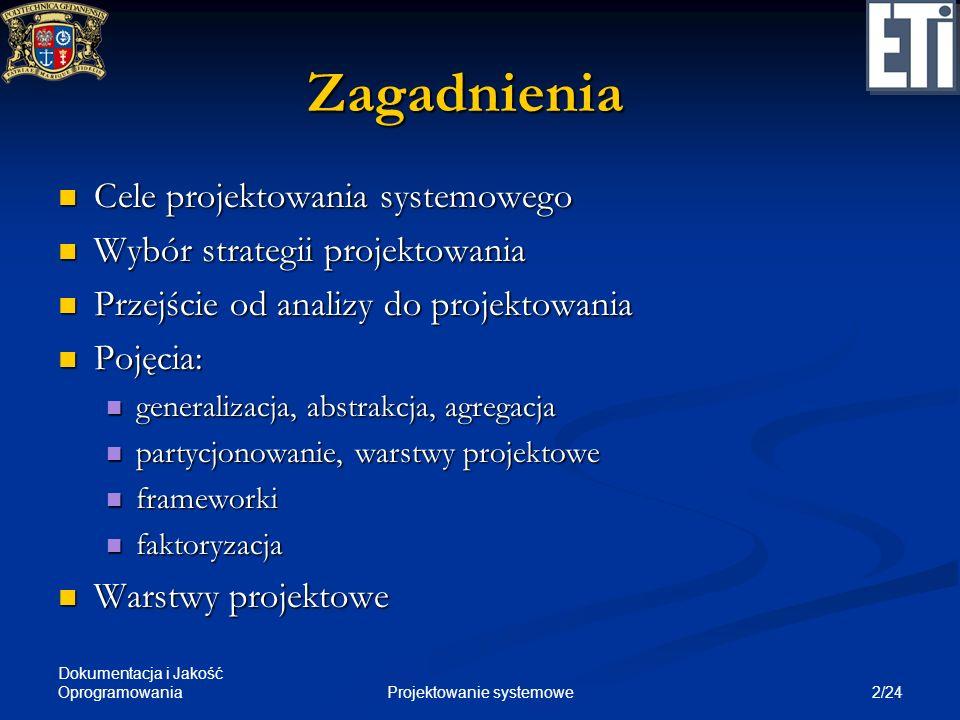 2/24Projektowanie systemowe Zagadnienia Cele projektowania systemowego Cele projektowania systemowego Wybór strategii projektowania Wybór strategii pr