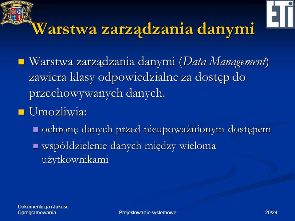 Dokumentacja i Jakość Oprogramowania 20/24Projektowanie systemowe Warstwa zarządzania danymi Warstwa zarządzania danymi (Data Management) zawiera klas