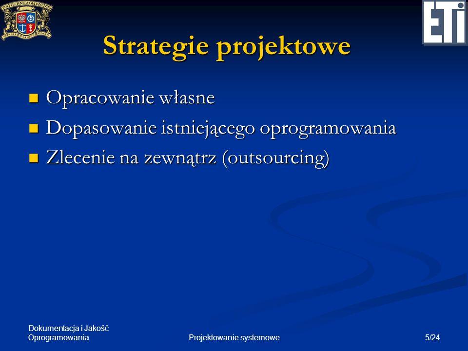 Dokumentacja i Jakość Oprogramowania 5/24Projektowanie systemowe Strategie projektowe Opracowanie własne Opracowanie własne Dopasowanie istniejącego o