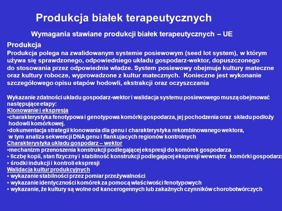 Produkcja białek terapeutycznych Wymagania stawiane produkcji białek terapeutycznych – UE Produkcja Produkcja polega na zwalidowanym systemie posiewowym (seed lot system), w którym używa się sprawdzonego, odpowiedniego układu gospodarz-wektor, dopuszczonego do stosowania przez odpowiednie władze.