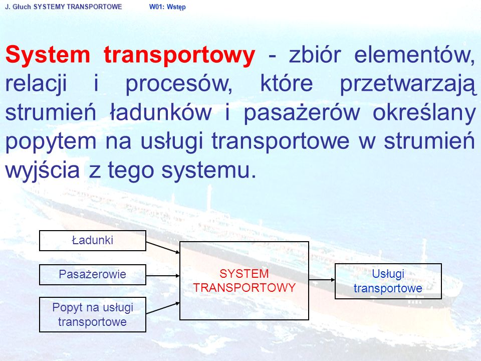 J. Głuch SYSTEMY TRANSPORTOWE W01: Wstęp System transportowy - zbiór elementów, relacji i procesów, które przetwarzają strumień ładunków i pasażerów o