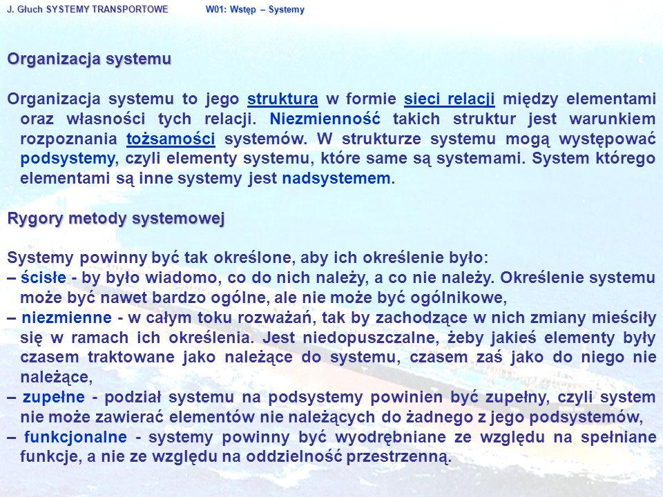 J. Głuch SYSTEMY TRANSPORTOWE W01: Wstęp – Systemy Organizacja systemu Organizacja systemu to jego struktura w formie sieci relacji między elementami