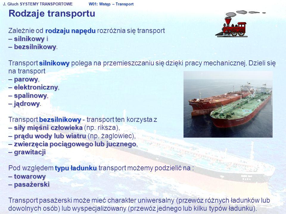 J. Głuch SYSTEMY TRANSPORTOWE W01: Wstęp – Transport Rodzaje transportu rodzaju napędu Zależnie od rodzaju napędu rozróżnia się transport – silnikowy