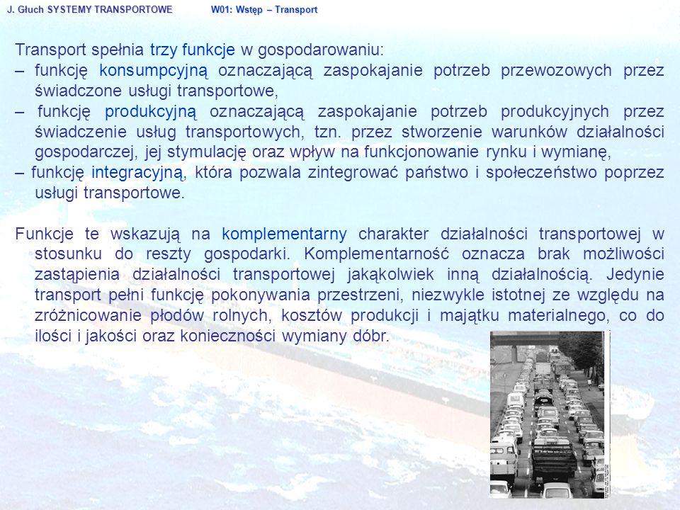 J. Głuch SYSTEMY TRANSPORTOWE W01: Wstęp – Transport Transport spełnia trzy funkcje w gospodarowaniu: – funkcję konsumpcyjną oznaczającą zaspokajanie