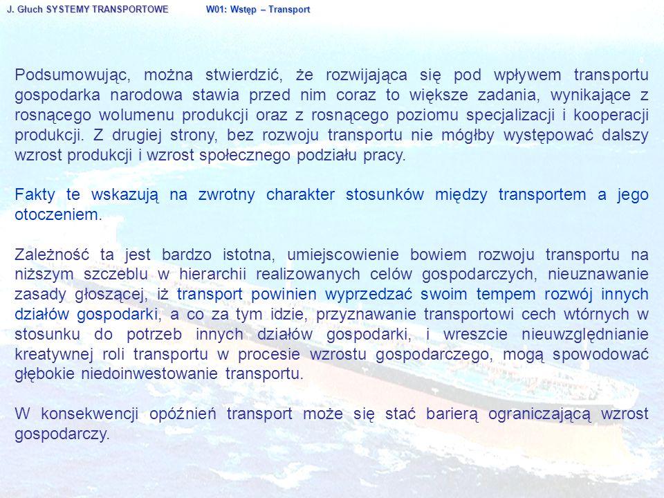 J. Głuch SYSTEMY TRANSPORTOWE W01: Wstęp – Transport Podsumowując, można stwierdzić, że rozwijająca się pod wpływem transportu gospodarka narodowa sta